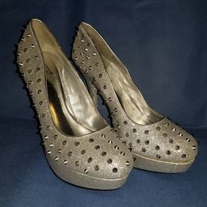 Like New Silver Studded Heels